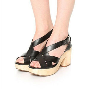 Rebecca Minkoff 9 Black Leather Wooden Heel Sandal